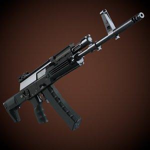 kalashnikov ak 12 assault rifle 3d c4d