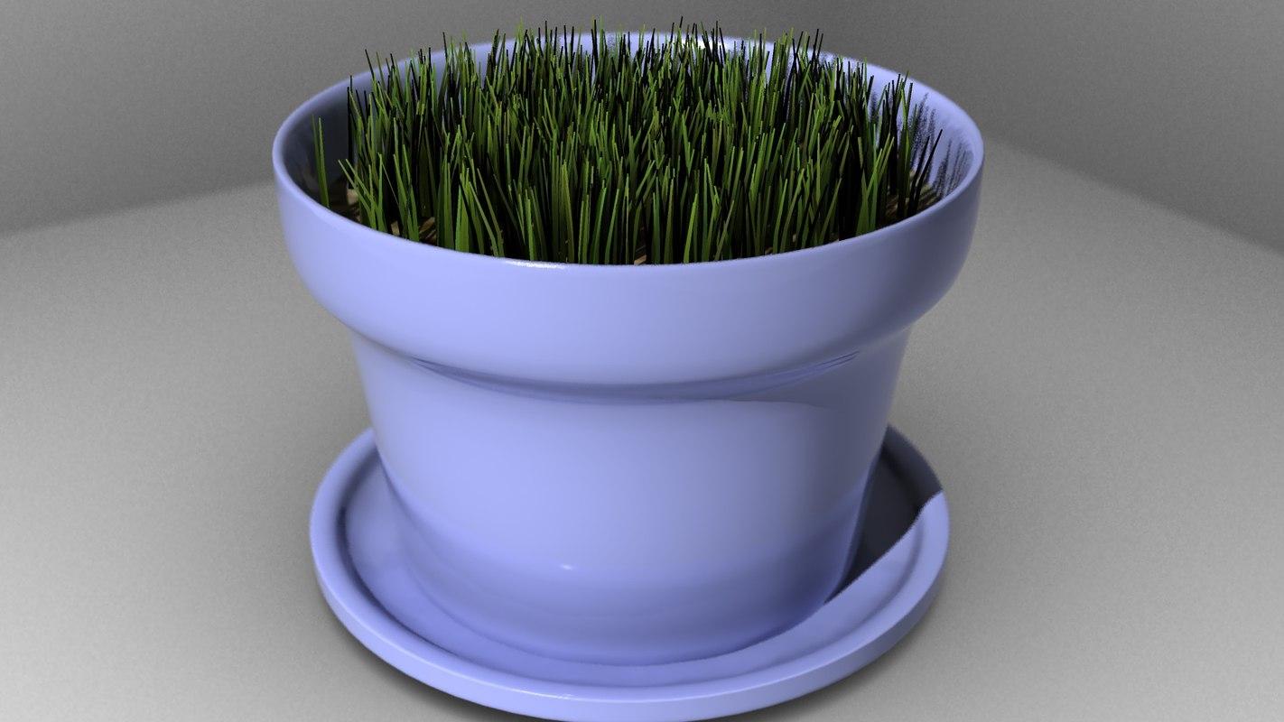 free planting pot grass 3d model
