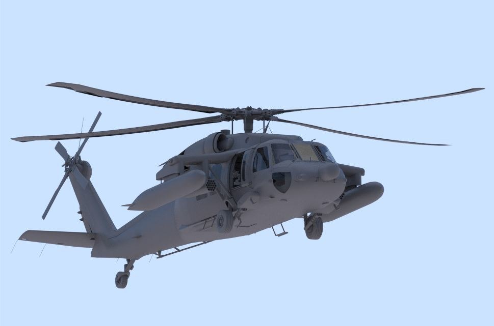 s-70 military helicopter obj