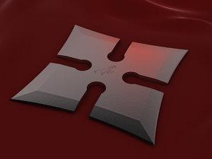 4 point shuriken wide 3d model