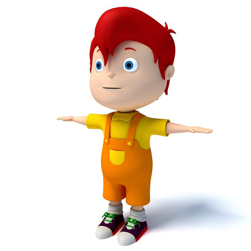 3d cartoon kid character