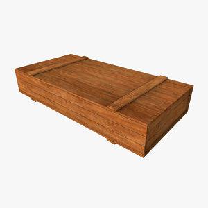 long flat wooden crate 3d model