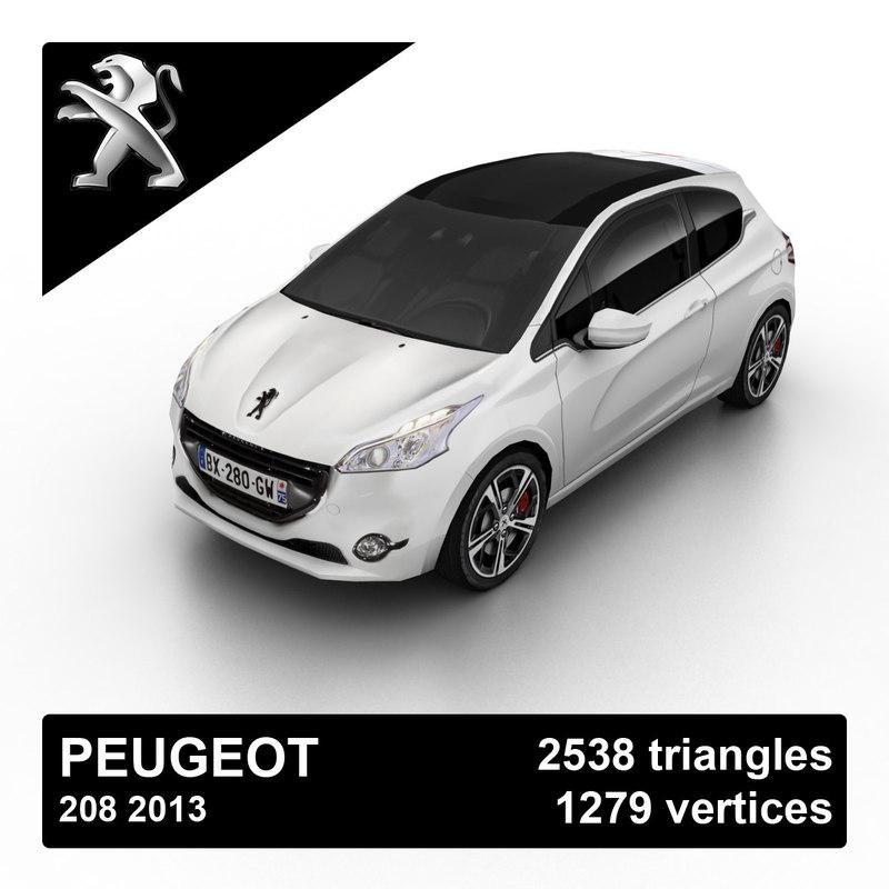 2013 peugeot 208 3d model