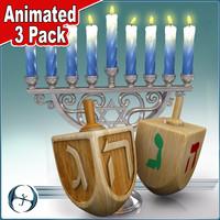 3d 3ds hanukkah animations 3 pack