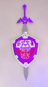 3d model zelda master sword shield