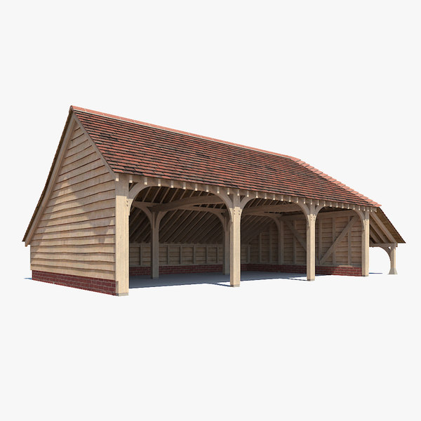traditional timber framed barn 3d max