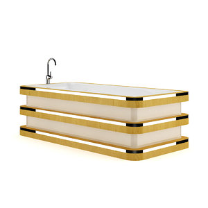 bathtube wooden elements 3d model