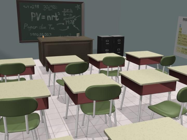3d desks chairs teacher