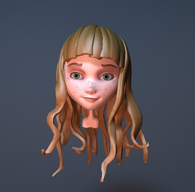 cute cartoon girl 3d max