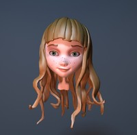 cute cartoon girl head