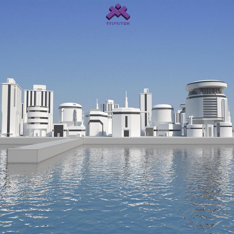 3ds set modern industrial buildings
