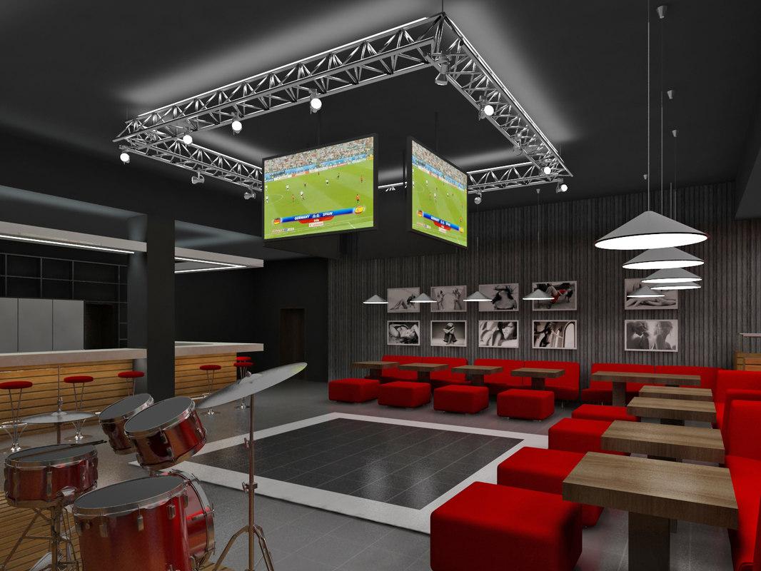 interior sport bar 3d max