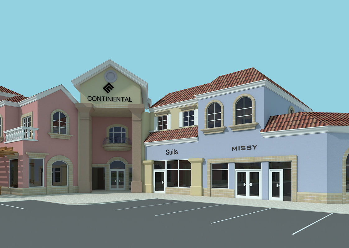 strip mall 3d model
