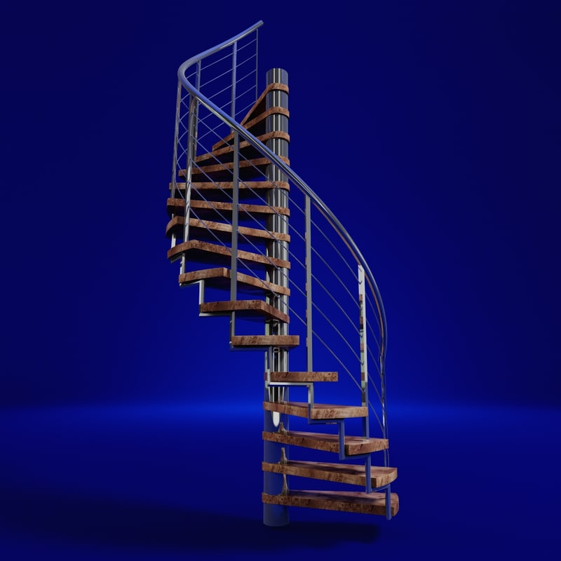3d model modern spiral staircase for Spiral staircase dwg