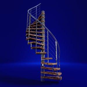 3d model modern spiral staircase