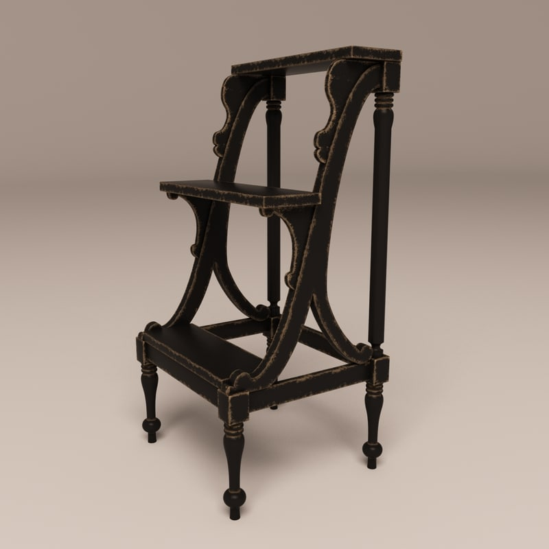 Library Old Wood Ladder 3d Model