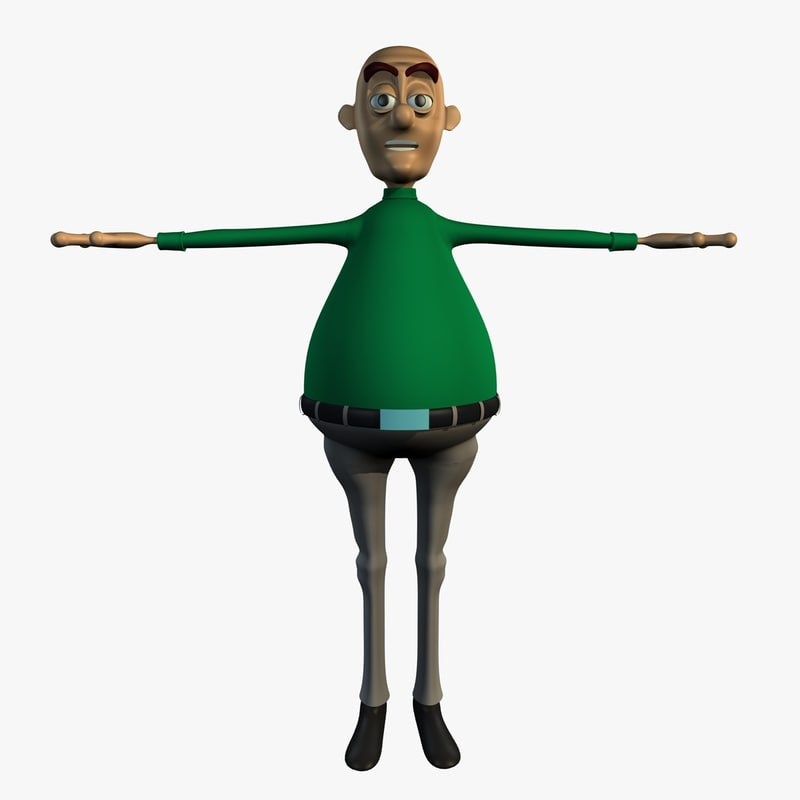 3d model richard cartoon character