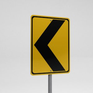 3ds street sign sharp turn