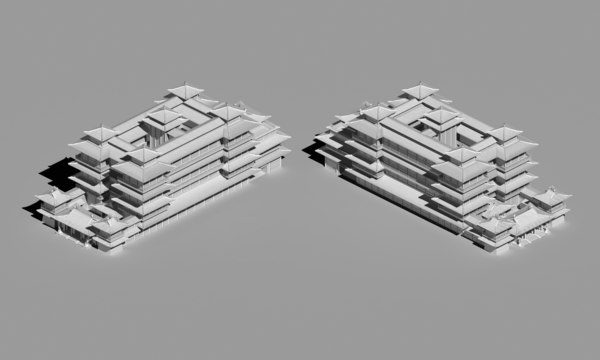 buddha temple chinese 3d max