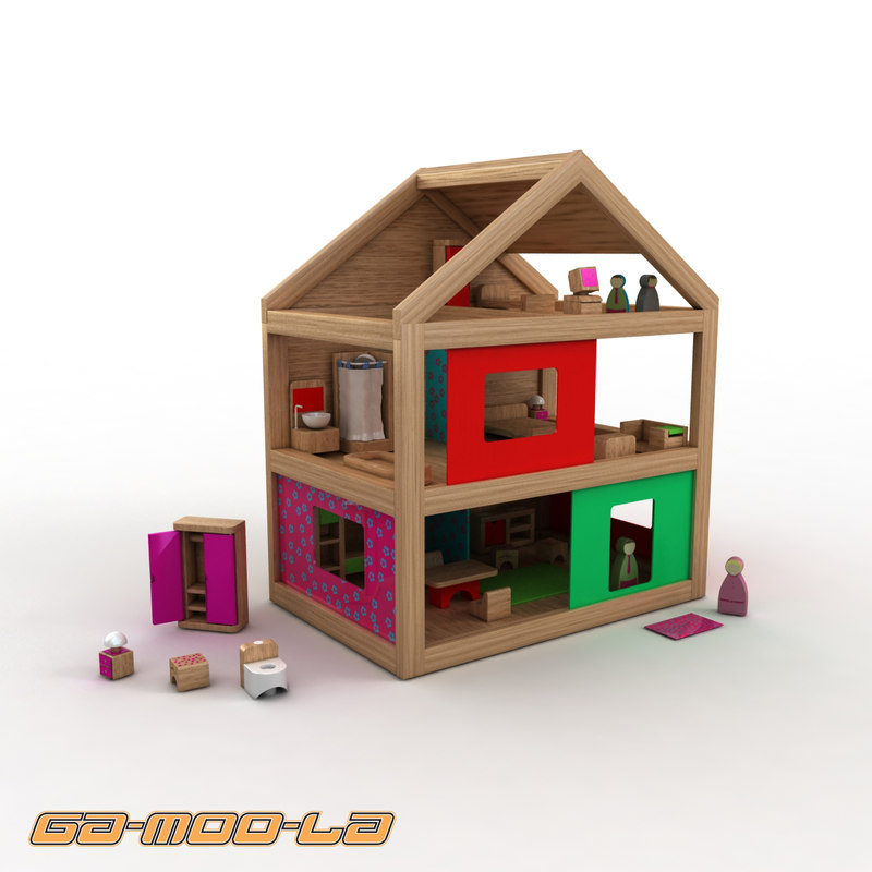 wooden toy dolls house 3d max