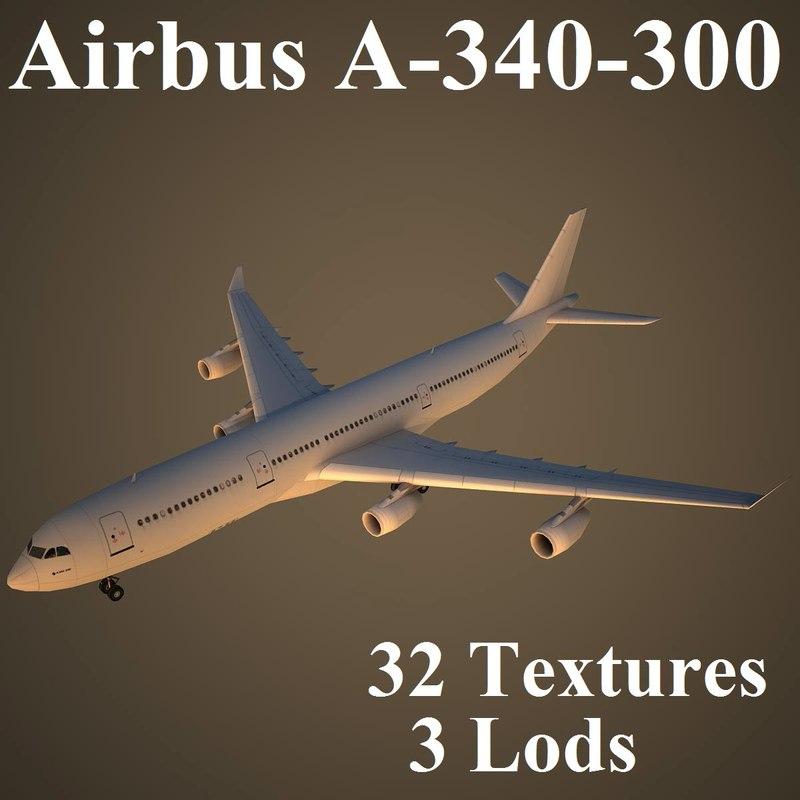 airbus a-340-300 air 3d model