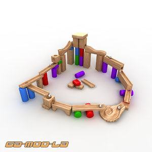 3d model wooden marble track toy