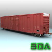3d a606 boxcar rails cargo model