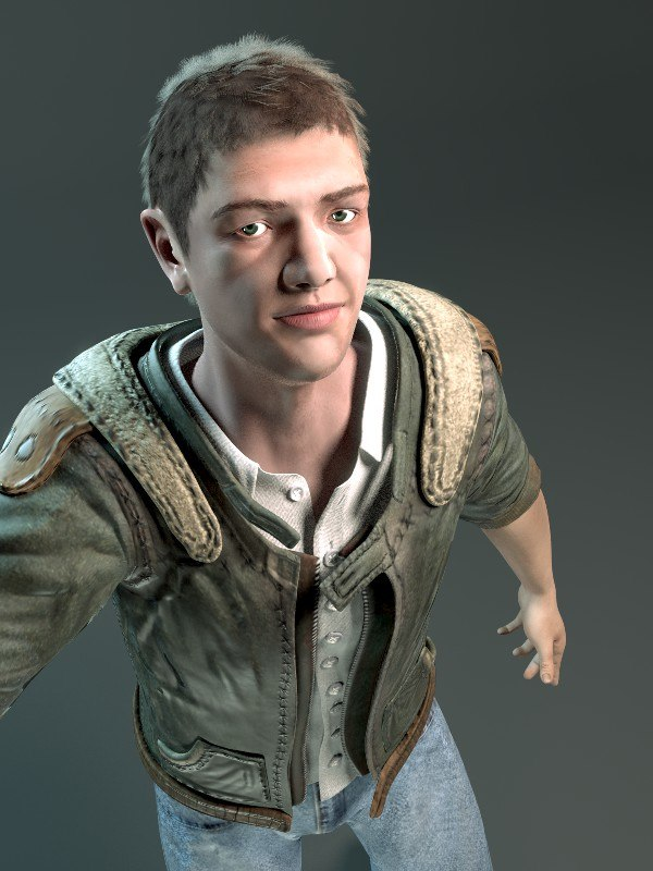 3d rigged male character model