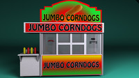 carnival corn dog booth 3d model