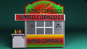 carnival corn dog booth 3d model