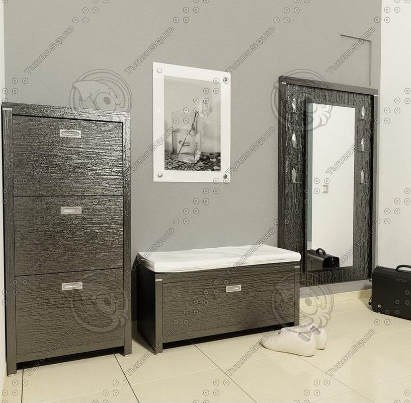 hall furnitures 3d model