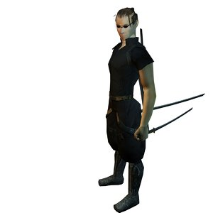 3d ninja katana character