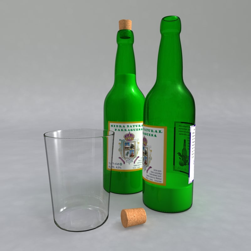 set cider bottles 3d fbx