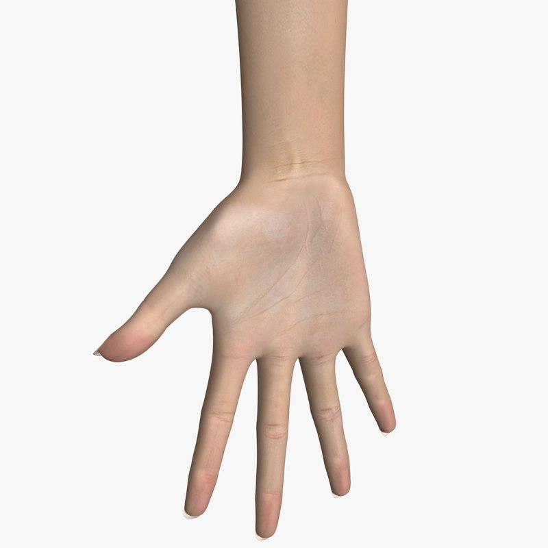 hand female 3d max