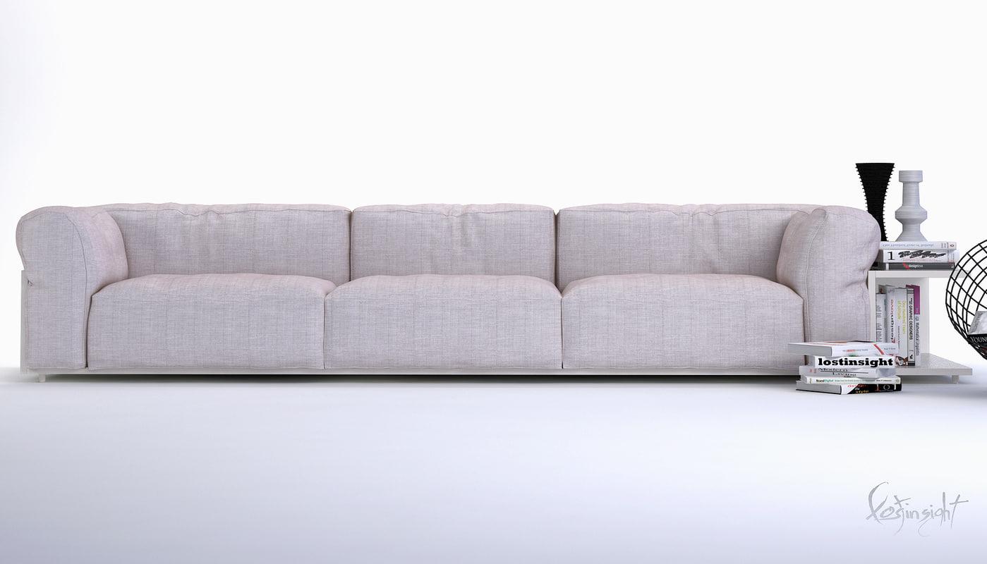 3d minimalist white sofa