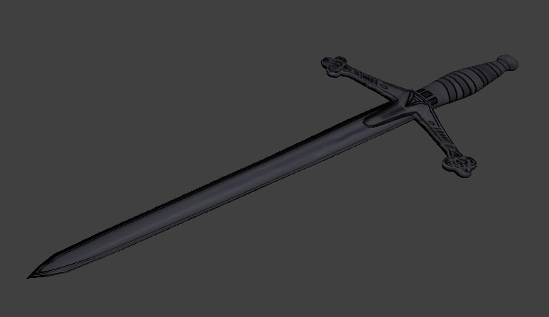 free low-poly claymore sword 3d model