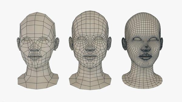 female head bust pack 3d model