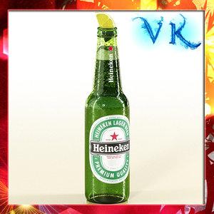 3d heineken beer bottle