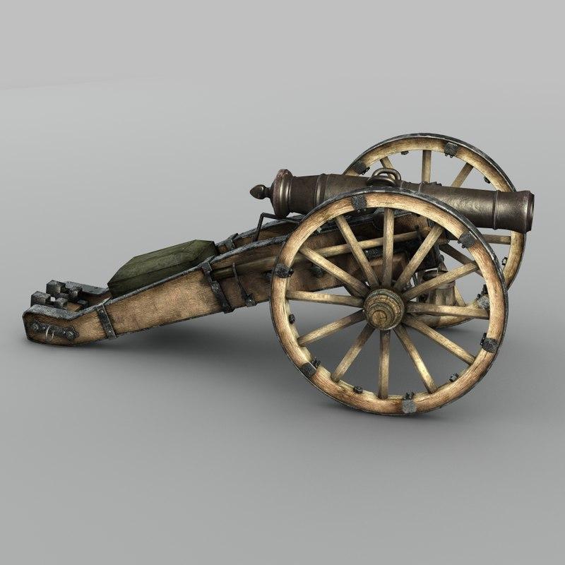 19th century russian cannon 3d model