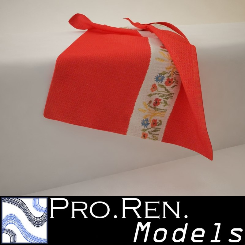 3d red towel -