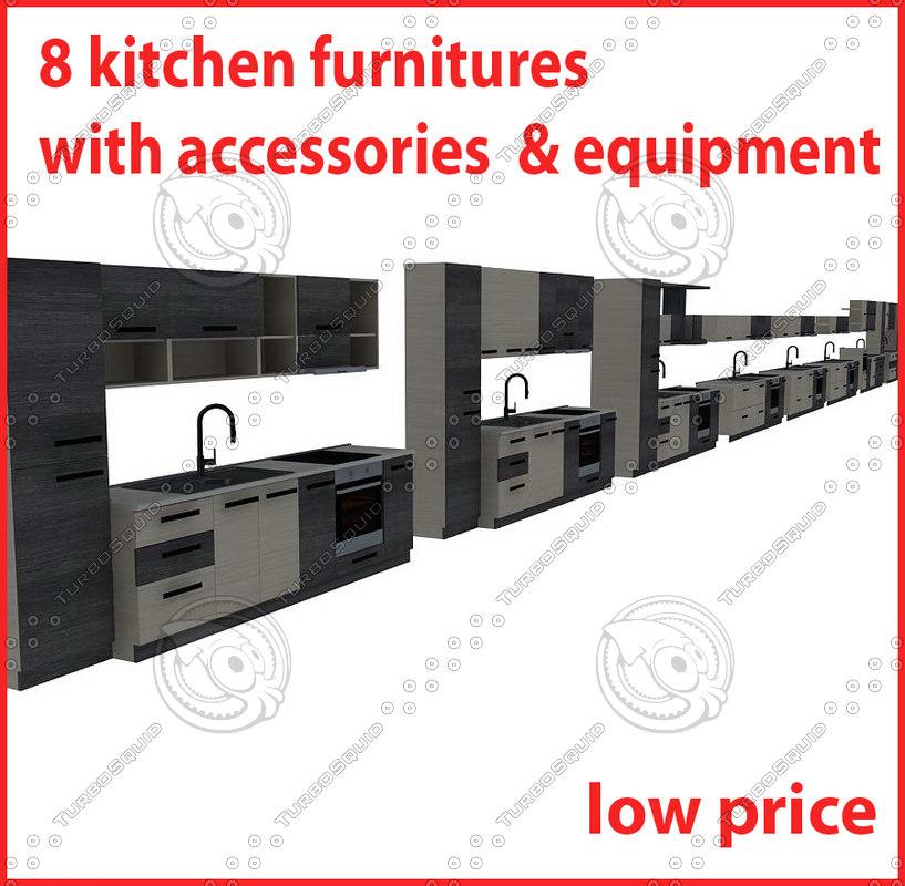 kitchen furnitures 3d dwg