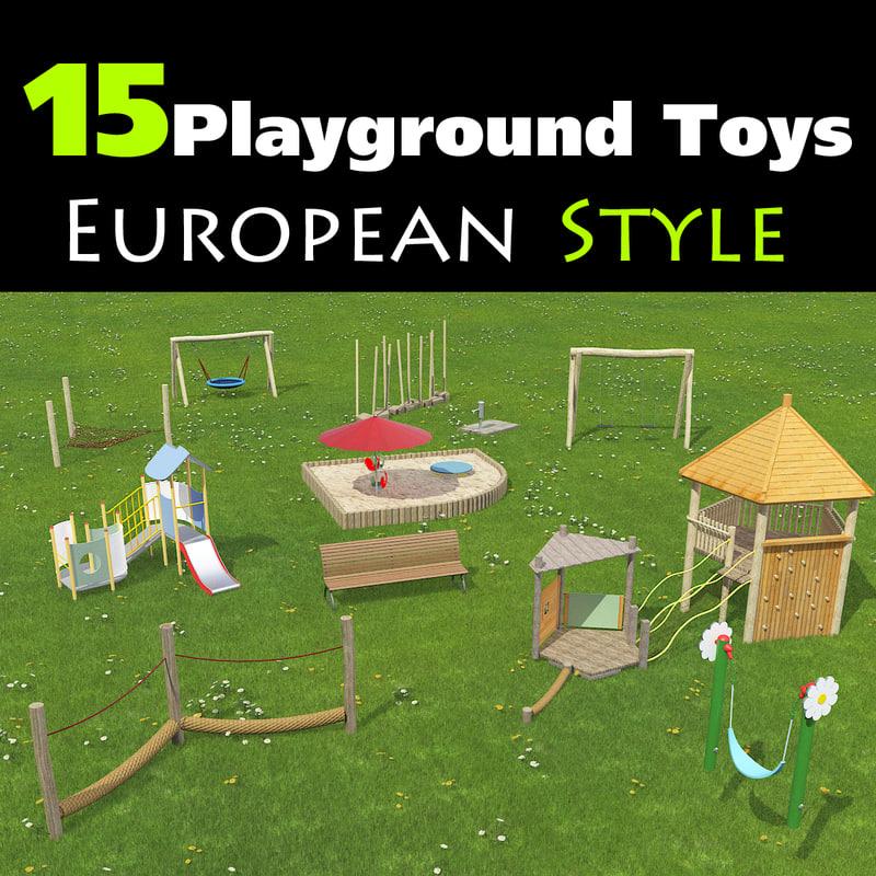 set 15 playground toys obj