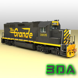 3ds max emd gp40-2 railroad engines
