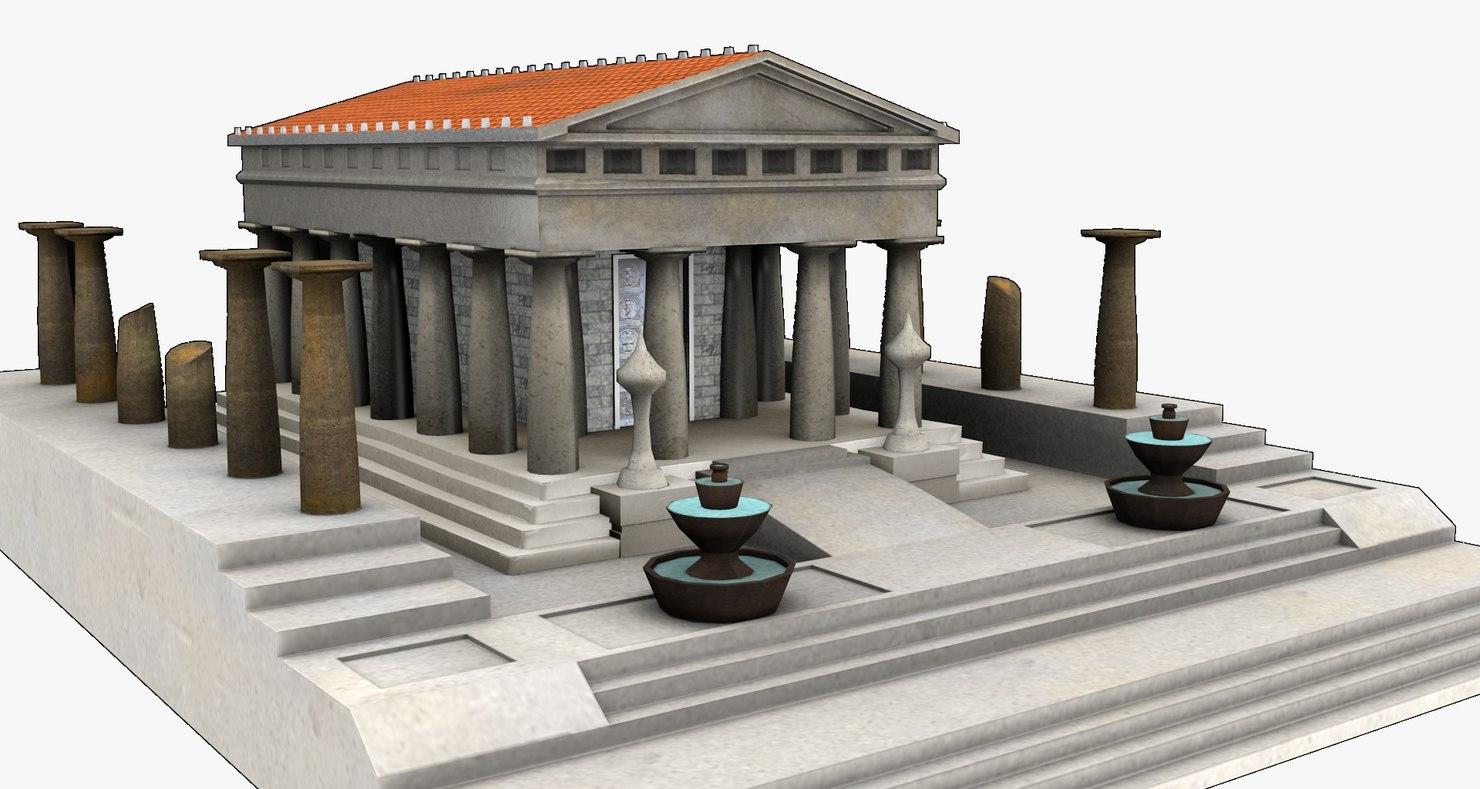 ancient roman temple 3d 3ds