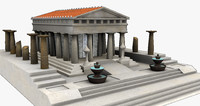 ancient roman temple 3d 3ds