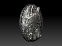 bas-relief wolf 3d model