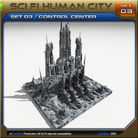 scifi human city set03 3d max