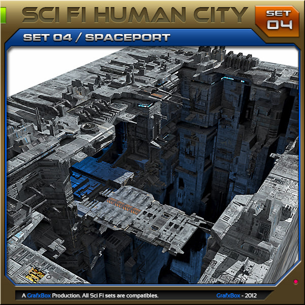 3d scifi human city set04