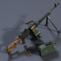 Low poly PKM machine gun
