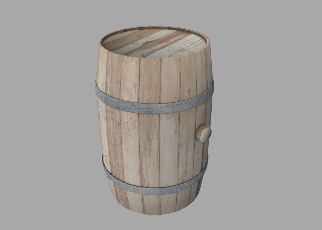free 3ds model wooden barrel
